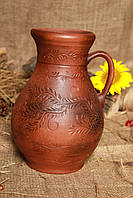Кувшин из красной глины классический декор