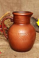 Крынка из красной глины декор