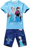 Детский Комплект Frozen (футболка и джинсовые шорты)на 90см и 100см