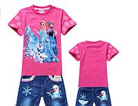 Детский КомплектFrozen (футболка и джинсовые шорты) от 95-140см