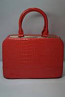 Стильная коралловая лаковая женская сумочка