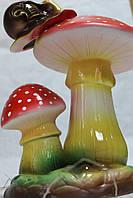 Садовая фигура Мухомор двойной с улиткой