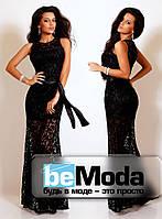 Гипюровое платье в пол с поясом черное