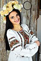 Женская рубашка-вышиванка ручной работы на длинный рукав «Карпаты», фото 1