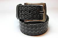 Ремень кожаный 'Braid' 40 мм черный тисненный 'Armani'