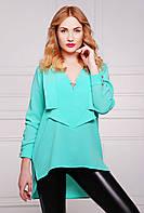 Длинная оригинальная блуза навыпуск, стилизованная под рубашку с отлетными лацканами спереди, 42-46 размеры