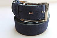 Ремень кожаный замшевый темно-синий 35 мм