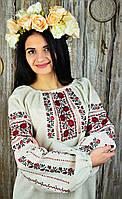 Шикарная женская вышитая блуза ручной работы из цветочным орнаментом «Розовый букет», фото 1