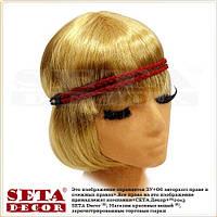 Повязка-резинка Косичка красная на голову для причёски в ретро стиле (для волос)