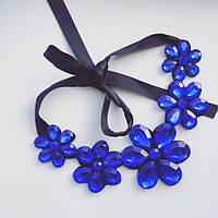 Колье женское Азалия синее, бижутерия