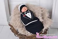Пелена- кокон на липучках+шапочка, Джентльмен, 0-3 мес.