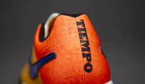 Сороконожки NIKE TIEMPO GENIO LEATHER TF 631284-858 Оранжевые сороконожки найк темпо (Оригинал), фото 3