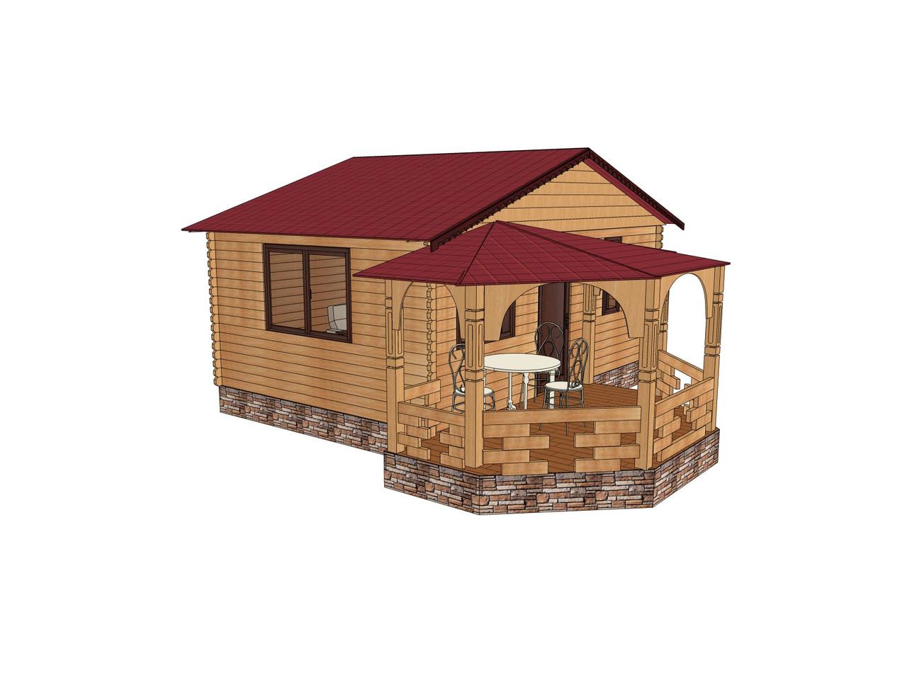 Строительство бани деревянной из профилированного бруса с верандой 6х6.5