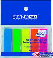 Economix Стикер-закладка 5цв*25 листов неон прозр пластик арт. Е20945