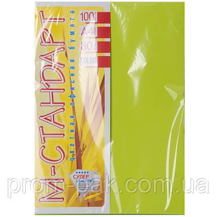 Цветная бумага неон зеленый М - Стандарт А4 г/м² 80 , фото 2