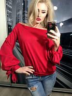 Женская красная кофточка спадающая с плеч