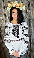 Пышная женская вышитая рубашка ручной работы с темно вишневой вышивкой «Берегиня», фото 1