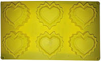 Форма силиконовая Empire 7185 для выпечки кексов сердечки  30*17.2*2 см