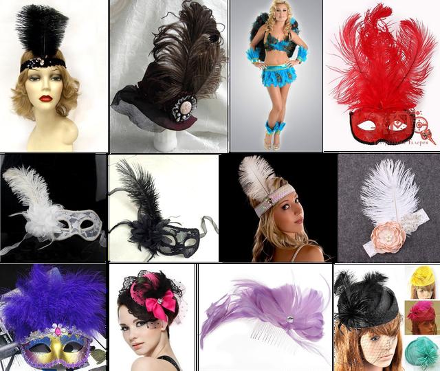 перья страуса, головные уборы из страусиных перьев, шляпка с пером