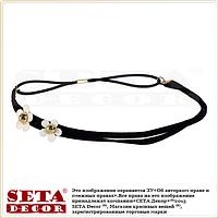 Повязка-резинка Лето чёрная с цветочками на голову для причёски в греческом стиле (для волос)