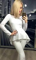 Женская белая кофта с баской удлинненая