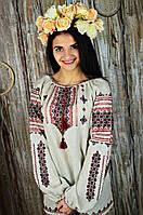 Женская льняная вышиванка ручной работы в этническом стиле «Букет цветов», фото 1