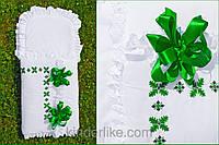 """Конверт с вышивкой ручной работы для мальчика """"Ялівець зелений"""""""