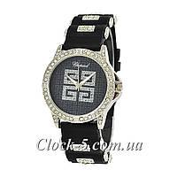 Часы женские с черным циферблатом и цветами