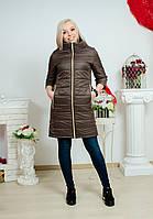 Пальто до колена на молнии коричневое, фото 1