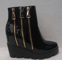 Ботинки женские чёрные лаковые на платформе