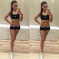 Женский спортивный костюм для спорта и фитнеса: топ и шорты