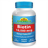 Биотин 10000 мкг, 200 капсул, Nova Nutritions. Сделано в США., фото 1