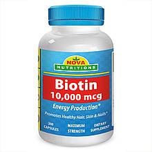 Биотин 10000 мкг, 200 капсул, Nova Nutritions. Сделано в США.
