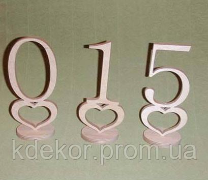 Цифры 0-9 на подставке с сердечком заготовка для декора