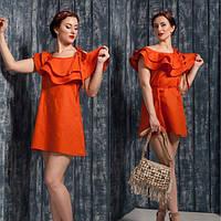 Женское льняное платье с воланами DВ-516