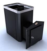Дровяная каменка для бани Новослав Классик ПКС-04Ч выносная топка, кожух черный, дверца металлическая