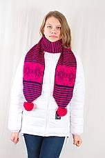 Красивый оригинальный теплый вязаный шарфик с узором снежинок., фото 2