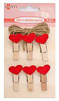 Набор прищепок деревянных сердце, 6 шт 952614