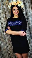 Стильное мини-платье с вышивкой черного цвета UA-42, фото 1