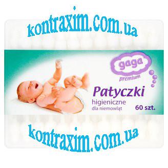 Детские ватные палочки Gaga Premium с ограничителем, 60 шт.