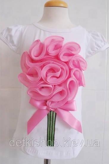 Футболка на девочку «Букет» (белая с розовым цветком)