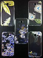 Чехол TPU Акварель с блестками for iPhone 4