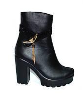 Ботинки женские кожаные на тракторной подошве. Зимний вариант, фото 1