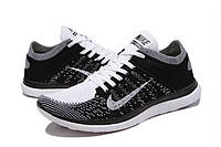 Мужские кроссовки Nike Free Run 4.0 Flyknit Black White