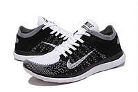 Мужские кроссовки Nike Free Run 4.0 Flyknit Black White, фото 1