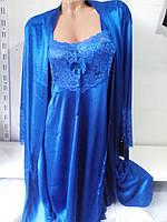 Женские нарядный ажурный комплект халат