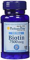 Биотин 7500 мкг, Puritan's Pride, 100 таблеток. Сделано в США.