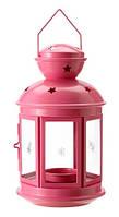 Фонарь металлический розовый