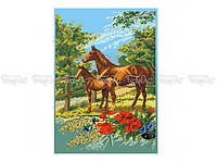 Схема вышивки бисером «Лошади на лугу» (A2)
