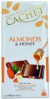 Шоколад молочный CACHET Almonds&Honey (с Мигдалем и Медом) 100г.